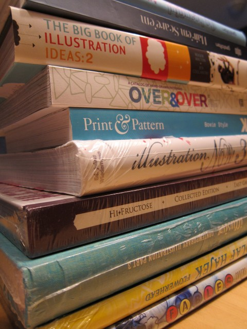 Stack of new books