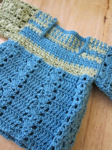 blue & green baby sweater