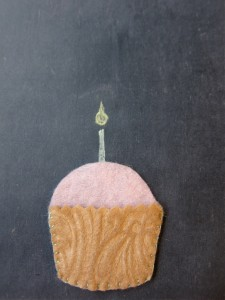 Felt cupcake with chalk candle
