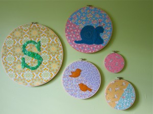 Nursery embroidery hoop decor