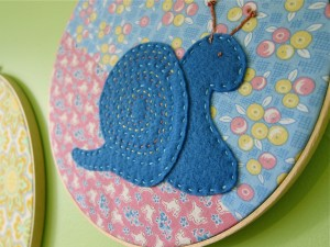 Snail embroidery hoop
