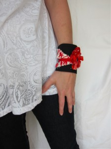 Red and Black Cuff Bracelet
