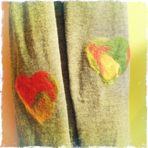 Needle felted elbow patch