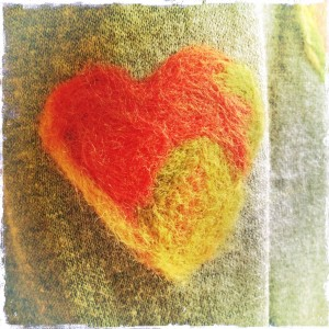 Needle felted elbow patch heart