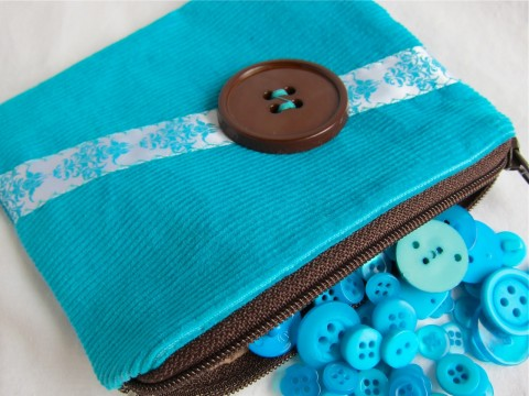 Turquoise Corduroy Coin Purse by Bubblegum Sass