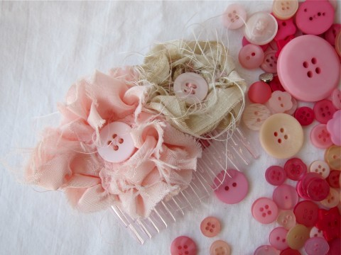 Pink and Champagne Hair Comb by Bubblegum Sass