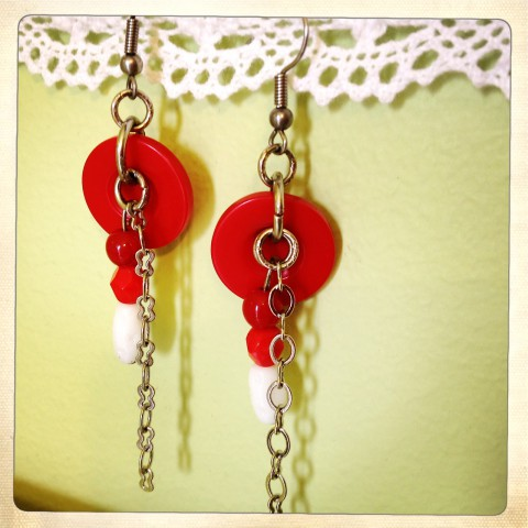 Red button earrings by Bubblegum Sass