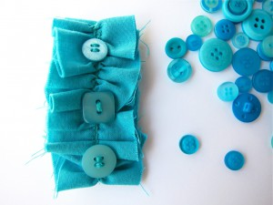 Turquoise Ruffle Button Brooch by Bubblegum Sass
