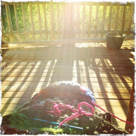 Crocheting on the back deck
