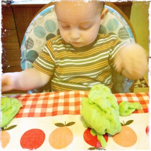 Sam playing with homemade play dough 2