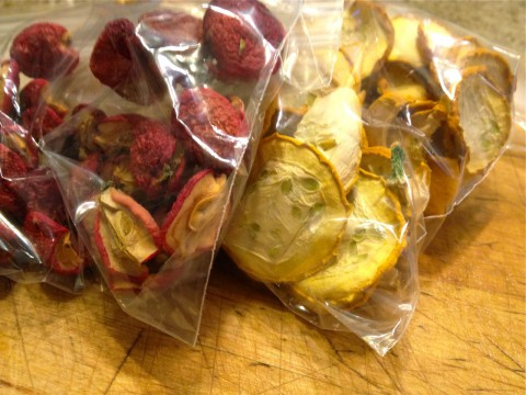Dehydrated zucchini and crab apples