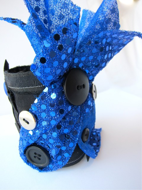 Glam Rock Upcycled Cuff Bracelet by Bubblegum Sass, Blue