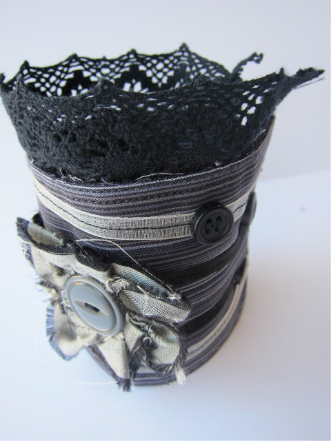 Gothic Upcycled Cuff Bracelet by Bubblegum Sass, Charcoal