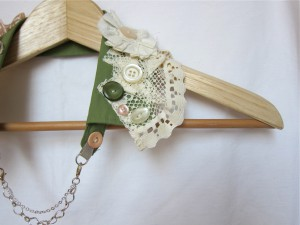 Shabby Chic Upcycled Collar by Bubblegum Sass, Olive Green