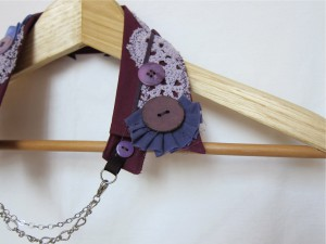 Shabby Chic Upcycled Collar by Bubblegum Sass, Plum Purple