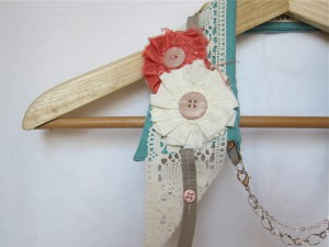 Shabby Chic Upcycled Collar by Bubblegum Sass, Sea Foam Green