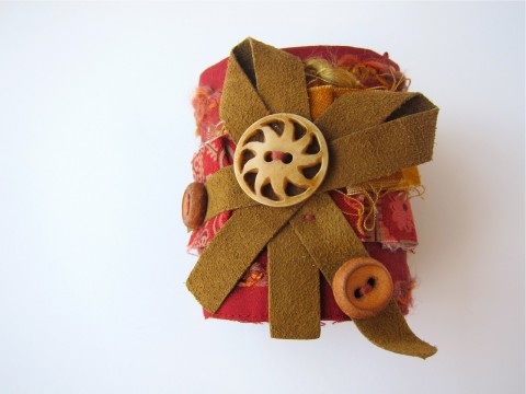Tribal Upcycled Cuff Bracelet by Bubblegum Sass, Red