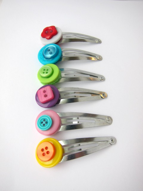 Button Hair Clip Set of Six