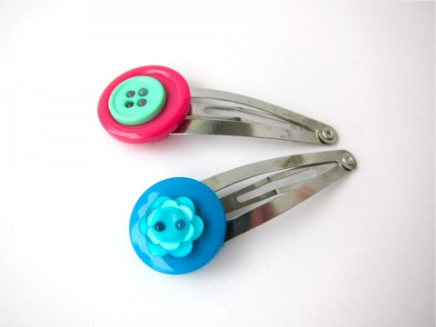 Button Hair Clips Set of Two, Aqua Pink