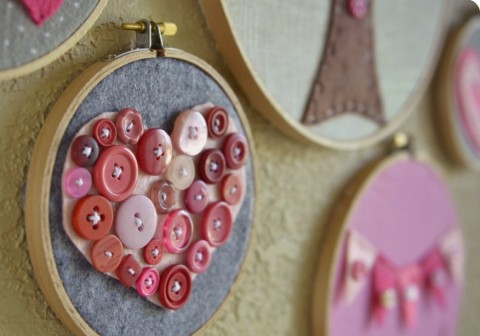 Valentine's Button Embroidery Hoop