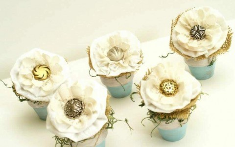 Button flower pots by Flamingo Toes