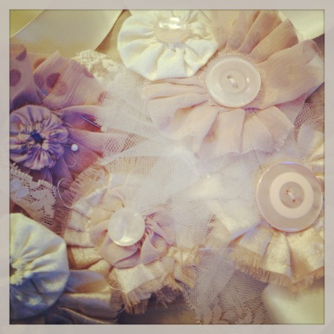 A whole lot of silk, tulle, & buttons