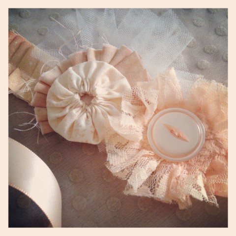 Peach bridal accessory (can be worn as a hair piece or accent belt for a dress)