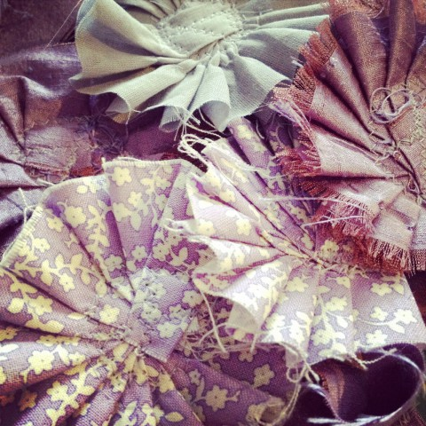Diving into purple... fabric flower accents for bridal accessories & hair combs