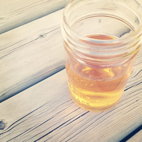 Enjoying chilled homemade apple cider on the deck one spring evening.