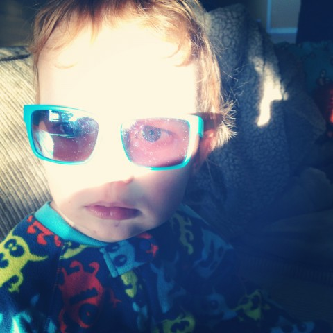 We had ACTUAL sunshine one morning this week. This little man thought it was sunny enough that he needed to wear his sunglasses while he watched an episode of The Berenstein Bears. Funny guy. (PS - love that they match his jammies)