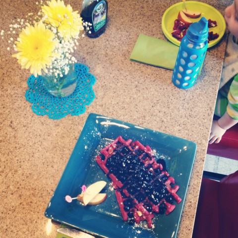 Mother's Day breakfast with my boy. I cooked up special beet & apple waffles with blueberry sauce. Super yummy! We both gobbled them up.