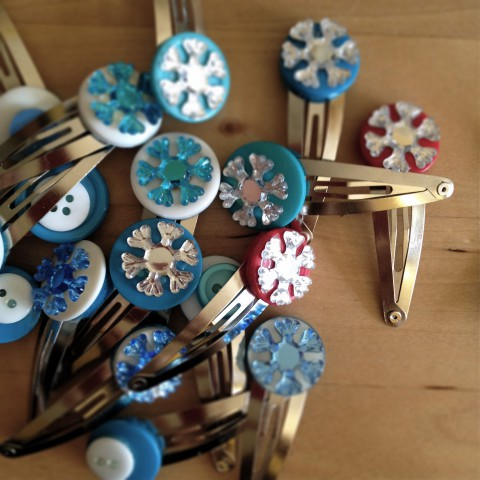 Snowflake Button Hair Clips by Bubblegum Sass