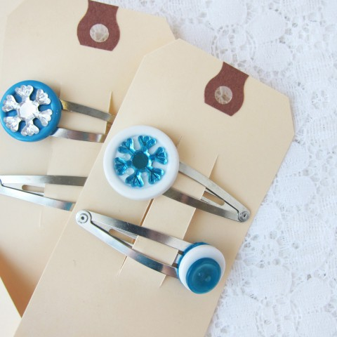 Frozen Inspired Button Hair Clips ~ By Bubblegum Sass