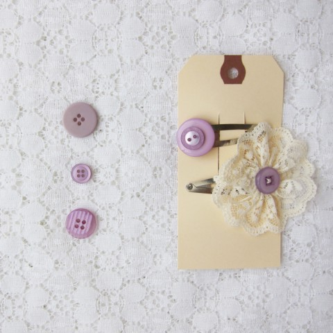 Fancy Lace Flower Button Hair Clips, Shabby Chic Wedding Accessories ~ By Bubblegum Sass