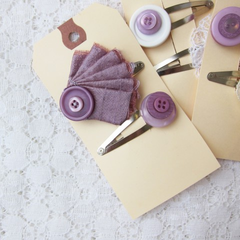 Fancy Purple Button Hair Clips, Shabby Chic Wedding Accessories ~ By Bubblegum Sass