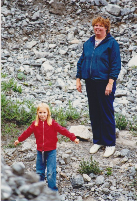 My mom and I out on one of our many family hikes (1987)