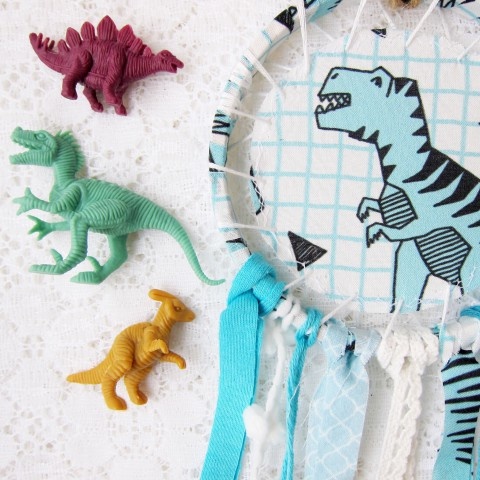 In the Shop: Dino Dreams ~ Blog post by Bubblegum Sass ~ Dinosaur Dreamcatchers for kids room decor