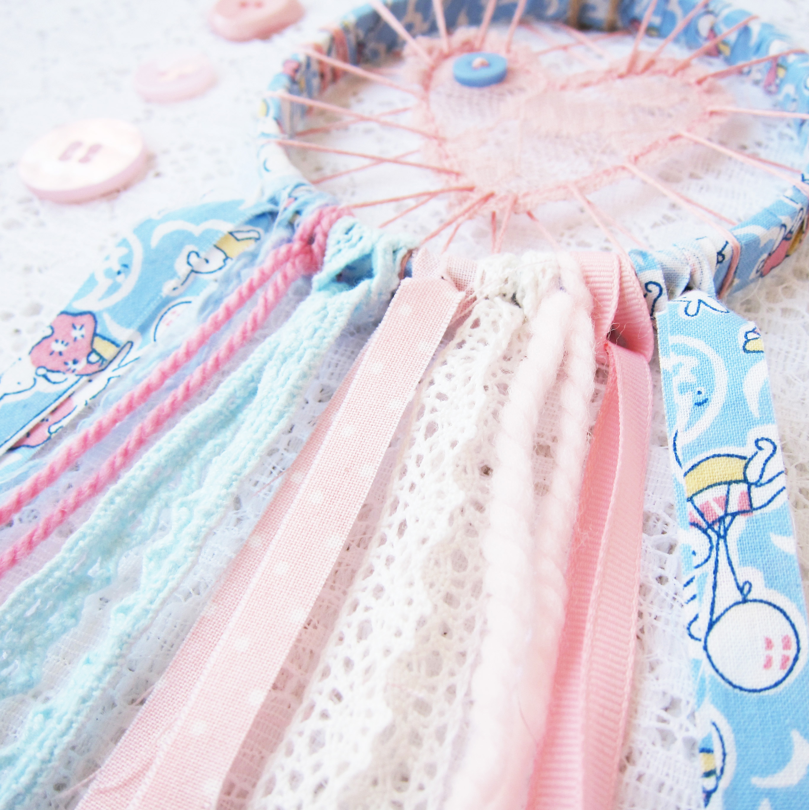 In the Shop: Love Catcher Rainbow ~ From Bubblegum Sass ~ Available through Etsy.com ~Lace dreamcatchers for nursery decor