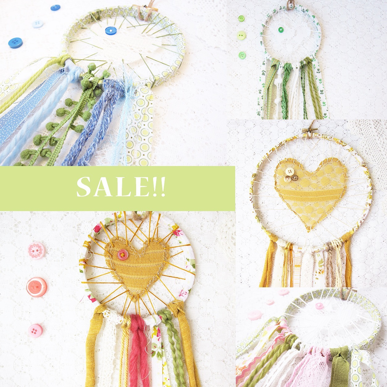Bubblegum Sass Etsy shop Love Catcher sale ~ Lace Dreamcatchers for little ones